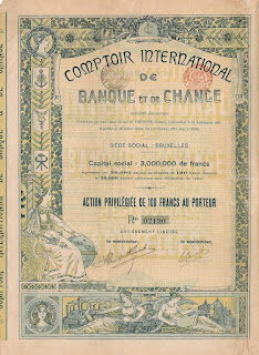 Share of the Comptoir International de Banque et de Change designed with Art Nouveau elements.
