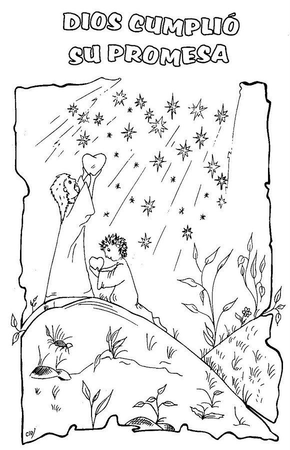 Abraham sarah and isaac coloring page
