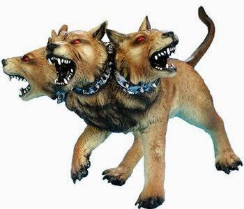 En la mitología griega, Cerbero era el perro de Hades, el perro demoníaco del infierno. Un monstruo de tres cabezas en la tradición más común, pero de cincuenta cabezas según Hesíodo, con una serpiente en lugar de cola.