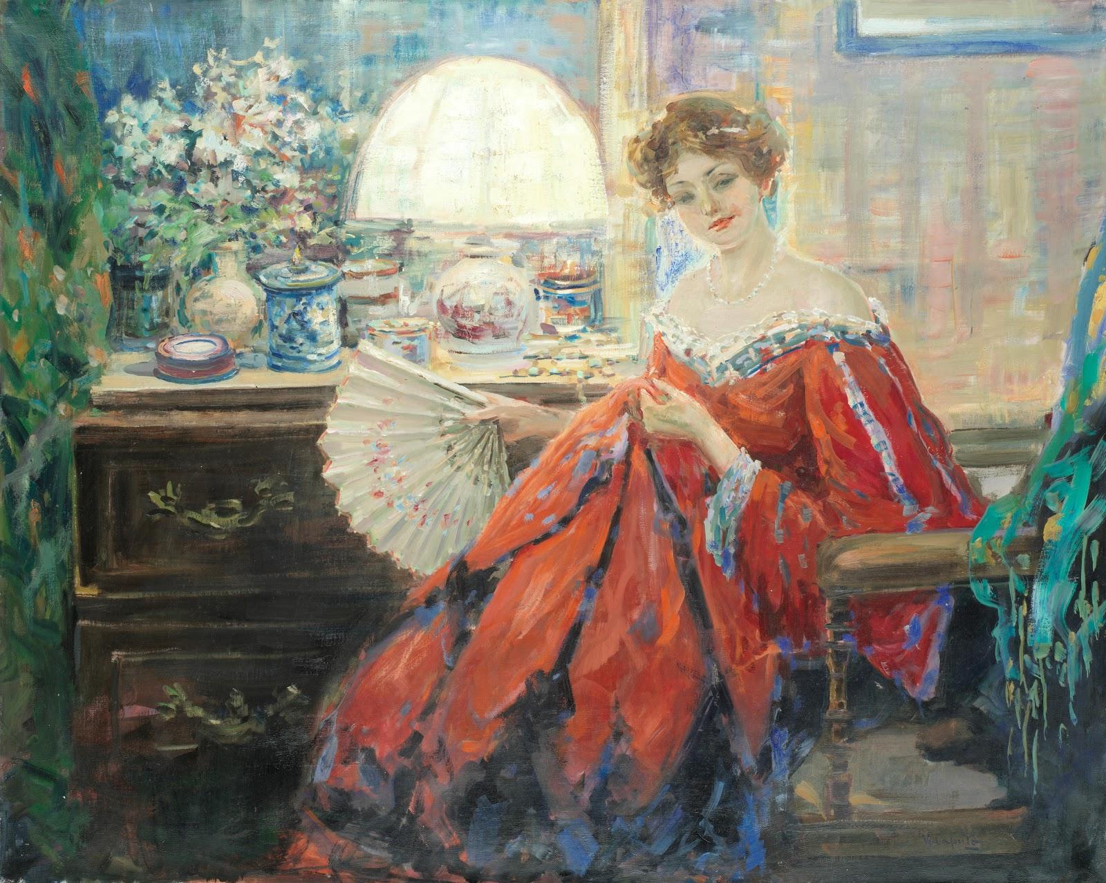 Ulisse Caputo Portrait of a lady holding a fan