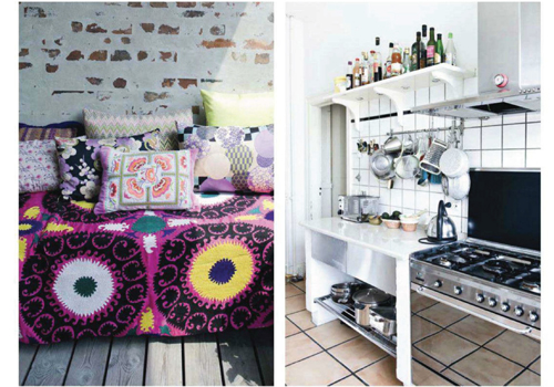 Cushions+and+Blanket+with+Kitchen+Diptych Brightly Coloured Apartment in Copenhagen