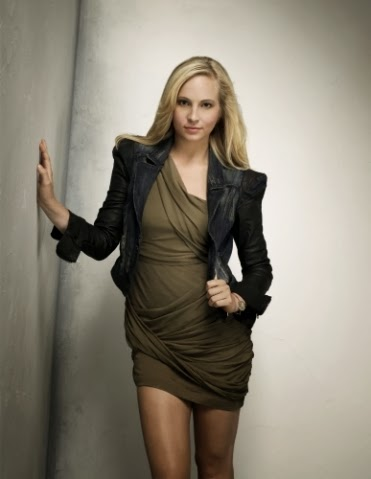 Caroline Forbes in Olive color mini Skirt looks very hot and sexy