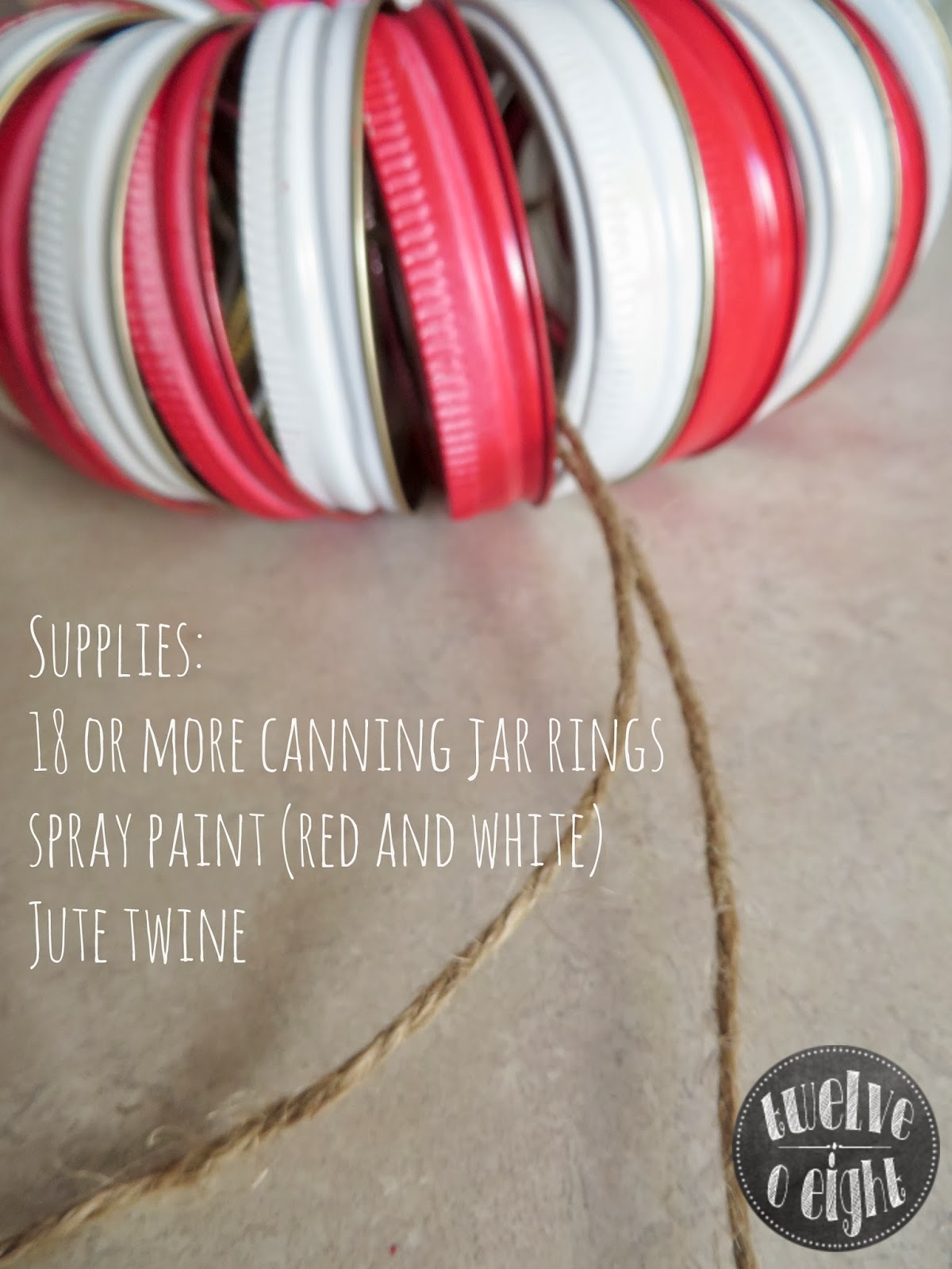 Candy Cane Canning Jar Ring Wreath