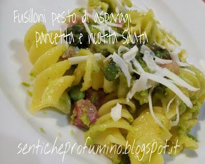 Fusilloni con pesto di asparagi pancetta e ricotta salata