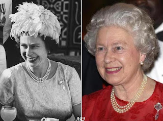 Queen Elizabeth wearing the Cullinan VI and VIII Brooch in Sudan in 1964 (left) and in Jamaica in 2002 (right)