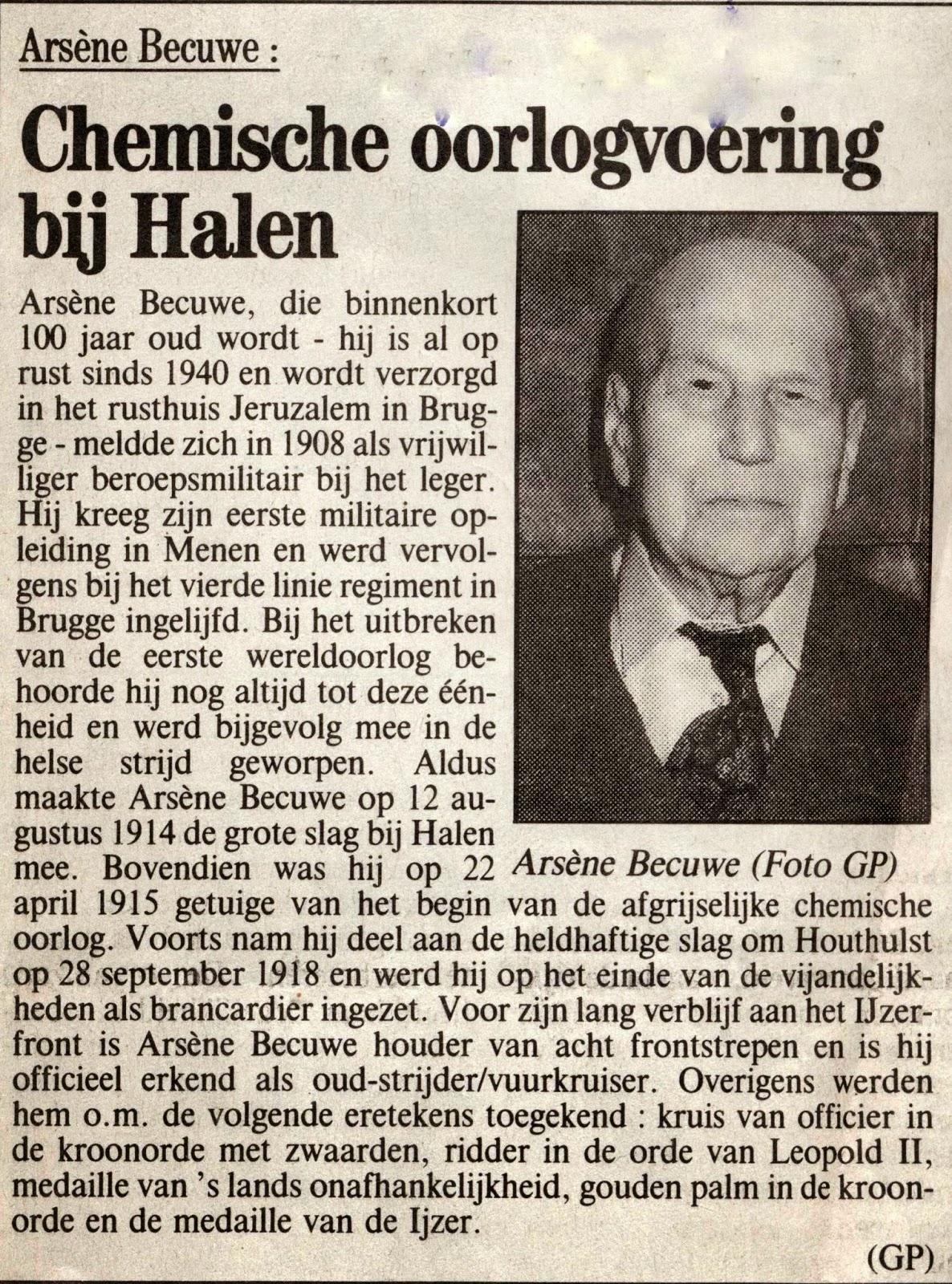 Krantenartikel met korte oorlogsbeschrijving over Arsène Becuwe.