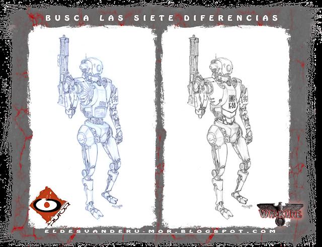 Dibujo base para ilustración de personaje -robot de apoyo de la Kempeitai japonesa- hecha por ªRU-MOR para el juego de rol de sci-fi WALKÜRE. Compara entre los dos dibujos y busca las siete diferencias