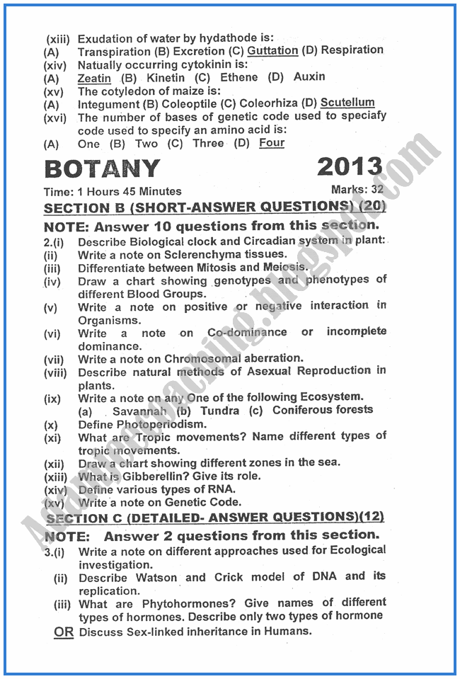 Botany-2013-past-year-paper-class-XII