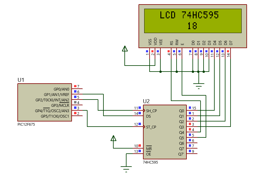 PIC: LCD com 74HC595
