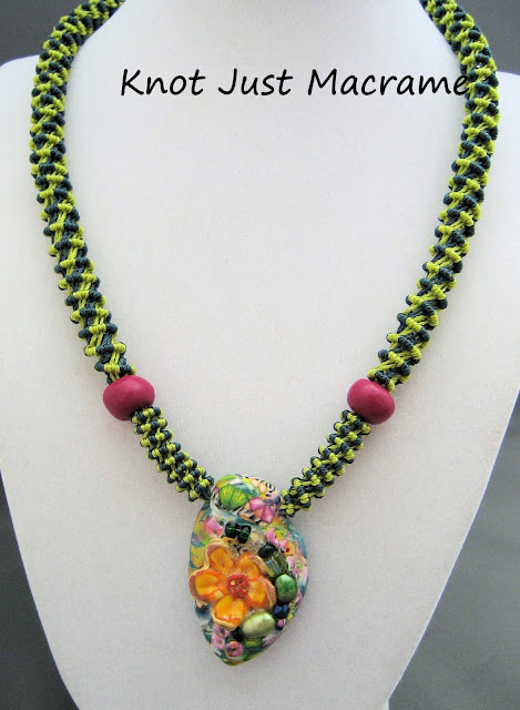 Spiral micro macrame necklace by Sherri Stokey of Knot Just Macrame