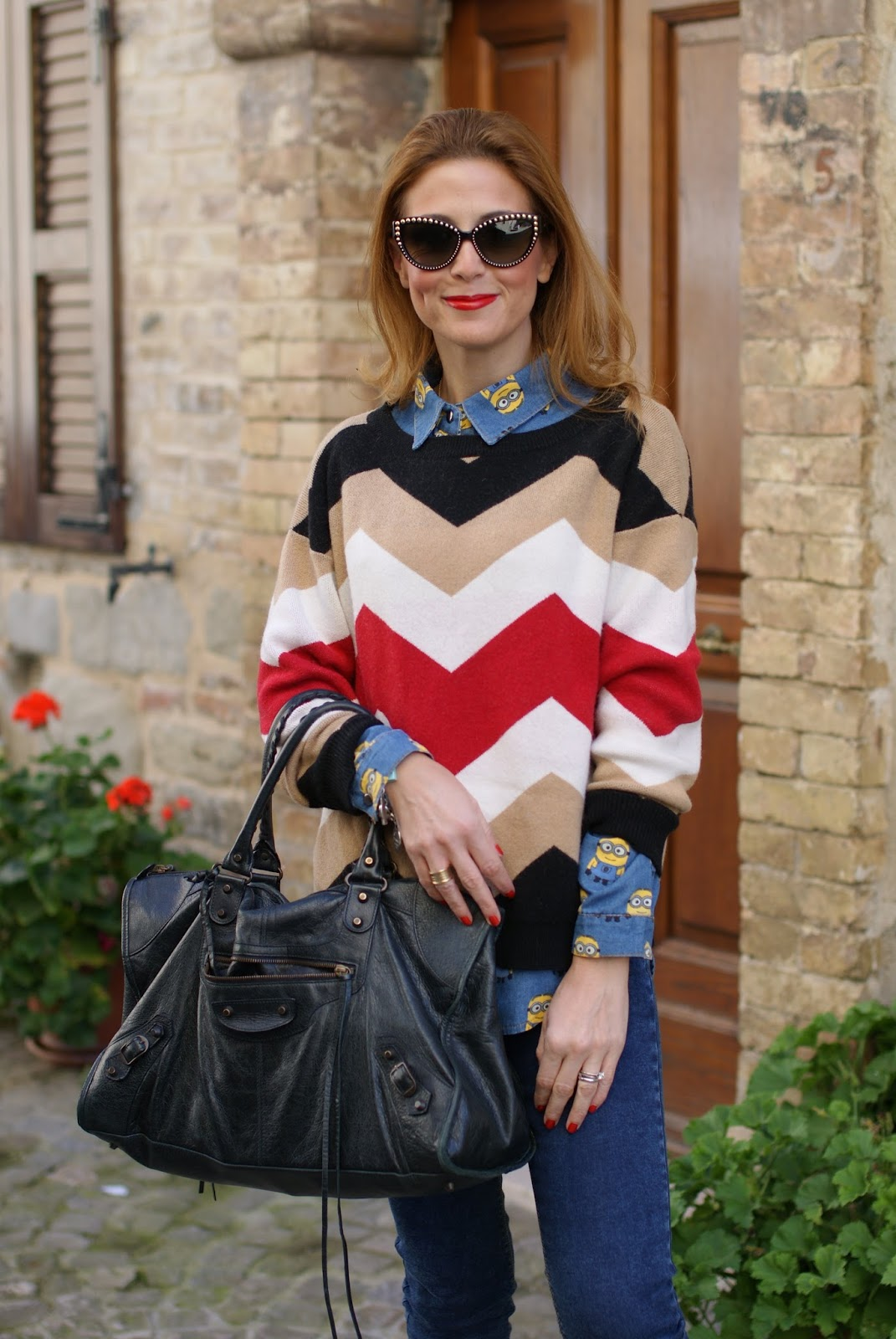 Minions clothing for adults, Minions shirt, Balenciaga work bag and chevron sweater on Fashion and Cookies fashion blog, fashion blogger style