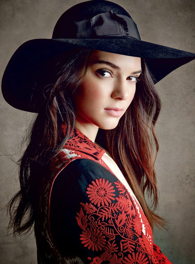 Kendall Jenner poses in Estee Lauder make up looks for Vogue US December 2014
