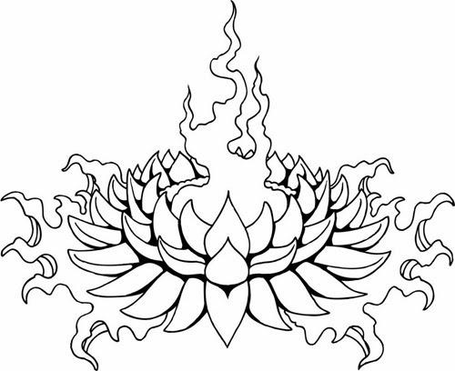 Lotus off fire tattoo stencil