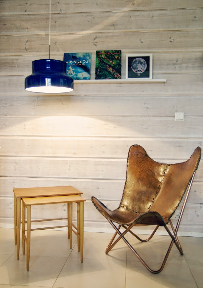 leather butterfly chair, sininen bumling, nahkainen lepakkotuoli