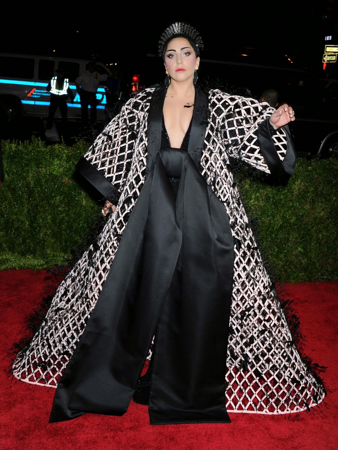 Lady Gaga wears a dramatic Balenciaga ensemble to the 2015 Met Gala