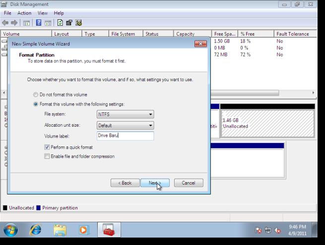Format partition. Kat dalam gambar atas ni, semuanya default value ...