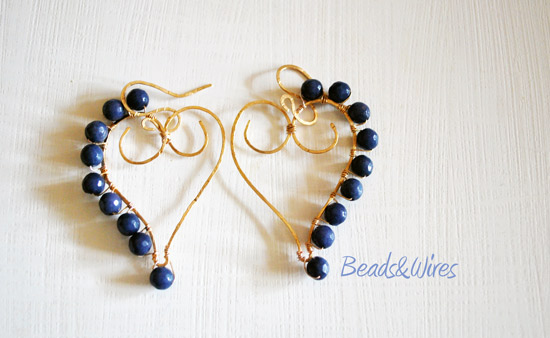 orecchini cuore agata blu