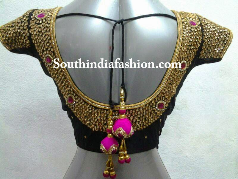 kundan work saree blouse designs