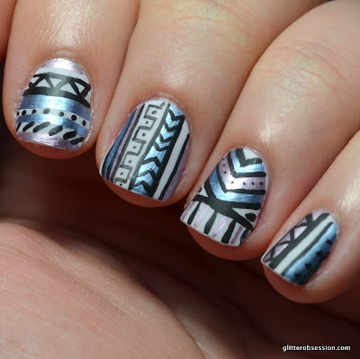 31dc2013, nail art, tribal, tribal nail art, metallic tribal, metallic nail art