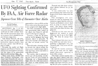 UFO Sighting Confirmed By FAA, Air Force Radar - The Washington Post 1-2-1987