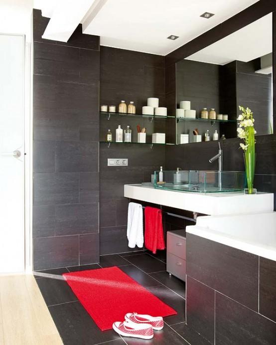 Concepto de baño negro, ideas de baño limpio y con estilo ...