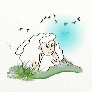Un mouton pensif dans uen prairie ; illustration numérique de Florence Gobled, illustratrice et auteur de livre pour enfants à Autun en Bourgogne