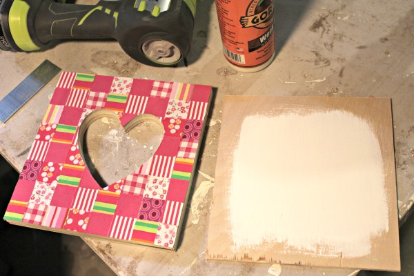 diy fabric collage heart shape white