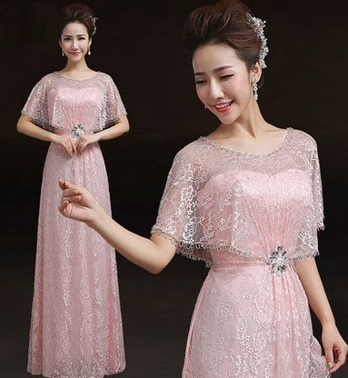 Sequin Pink Glossy Rose Lace Shawl Evening Long Dress