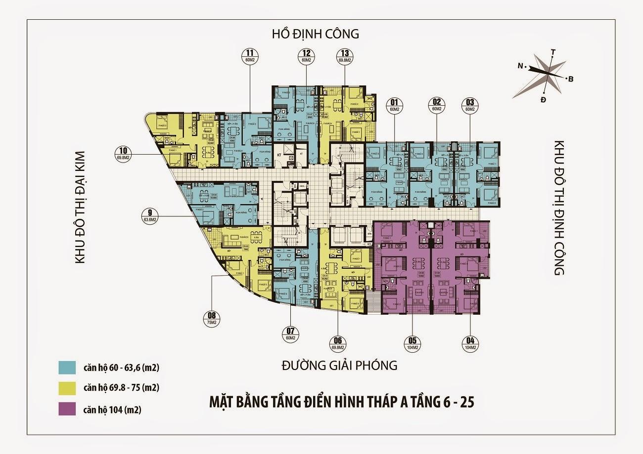 Mặt bằng thiết kế tòa A chung cư Dream Home