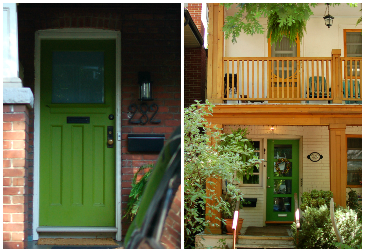 828 #A56D26  Yet Painted In The Same Green As The New And Modern Door On The Right save image Green Front Doors 47971200