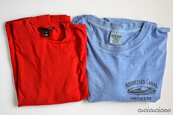 Pajamas from t-shirts reusing collar and hems: Cucicucicoo on Refashion Co-op