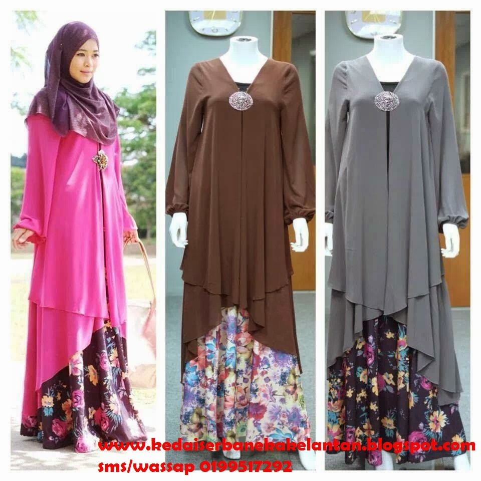 Long Cardigan pink, brown dan grey