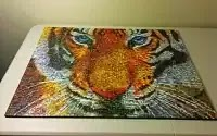 How to mount a jigsaw puzzle without glue - Tiger Photomosaic thumbnail