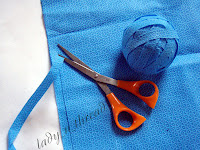 Sustainable fashion – making yarn using recycled blue wrap (cutting blue wrap into yarn)