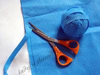 Sustainable fashion – making yarn using recycled blue wrap (cutting blue wrap into yarn)