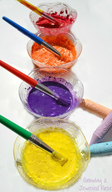 Make Your Own Chalk Paint using just two ingredients!  This paint has the texture of chalk but the consistency of a liquid paint- can be used in arts, crafts, and even on the sidewalk!