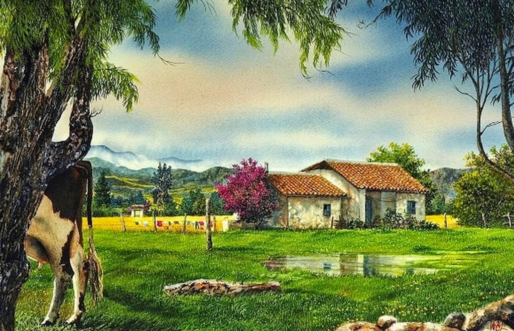 Pinturas cuadros lienzos imagenes de paisajes campestres - Paisajes de casas de campo ...