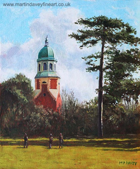 Netley Hospital Chapel-Weston Shore-oil painting m p davey