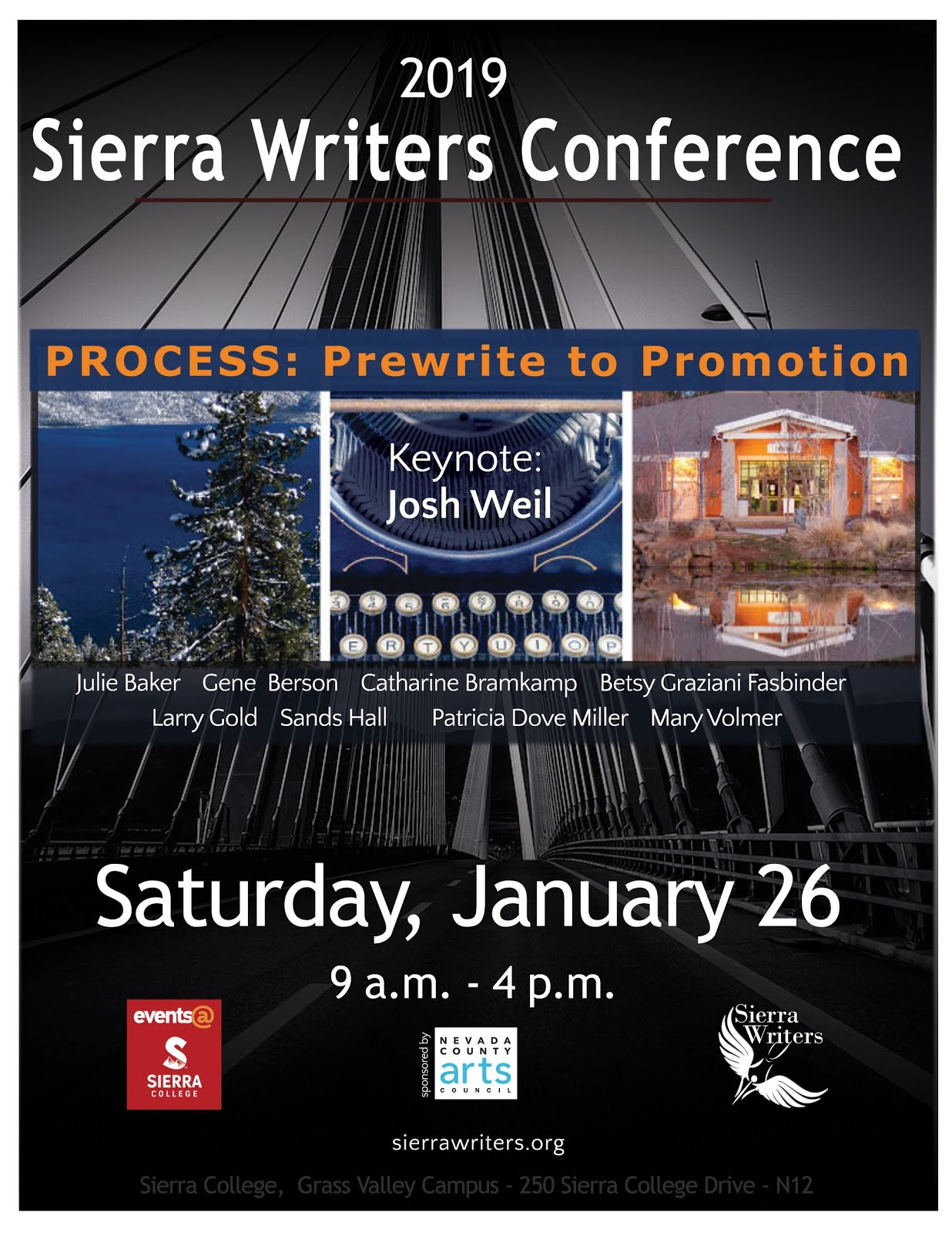 SIERRA WRITERS' CONFERENCE in Grass Valley Sat. (1/26)