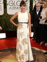 Рашида Джоунс в дълга права рокля с палми на Fausto Puglisi - Златен глобус 2014