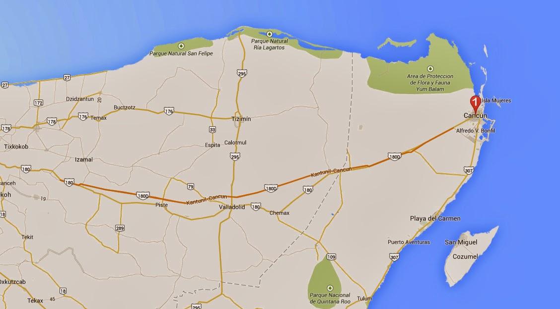 Mapa día 6 del viaje por la Riviera Maya en México