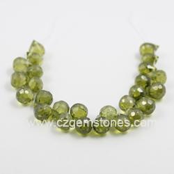 olive cubic zirconia teardrop beads