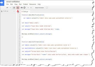Google Script untuk membuat notifikasi email
