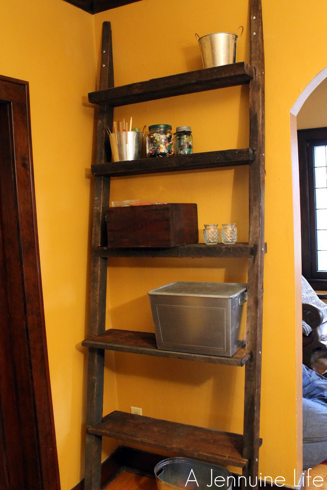 diy ladder shelf from reclaimed wood a jennuine life. Black Bedroom Furniture Sets. Home Design Ideas