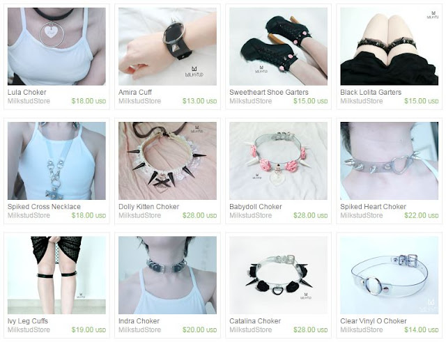Here's a screenshot of some of Milkstud's lovely, handmade chokers, garters, and other pastel goth/soft grunge/Harajuku/fetish-style accessories!