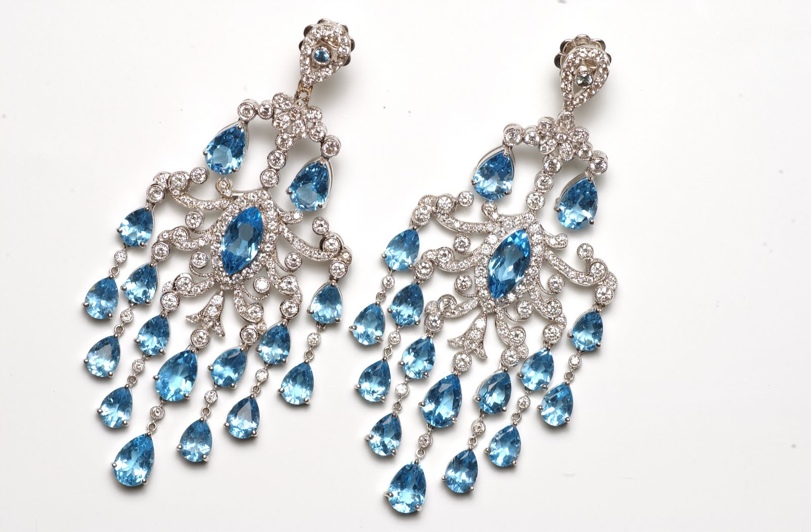 Red white and blue daniella kronfle magnificent chandelier style blue topaz and diamond earrings aloadofball Image collections