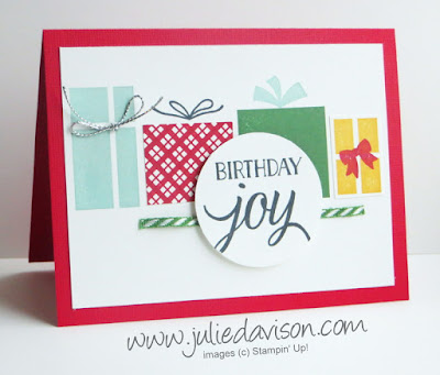 Stampin' Up! Your Presents Birthday Card + Quick Video Tip on how to create plaid #stampinup www.juliedavison.com