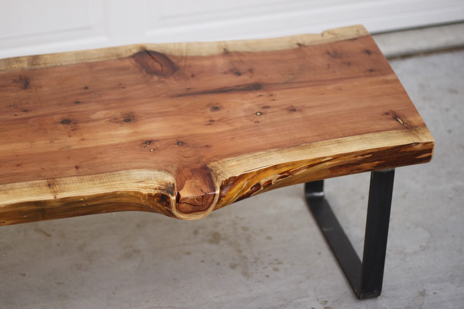 Arbor exchange reclaimed wood furniture redwood slab for Reclaimed wood table designs