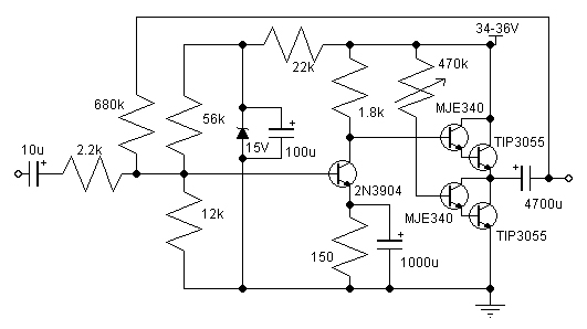 14w class a amplifier circuit with 2n3055