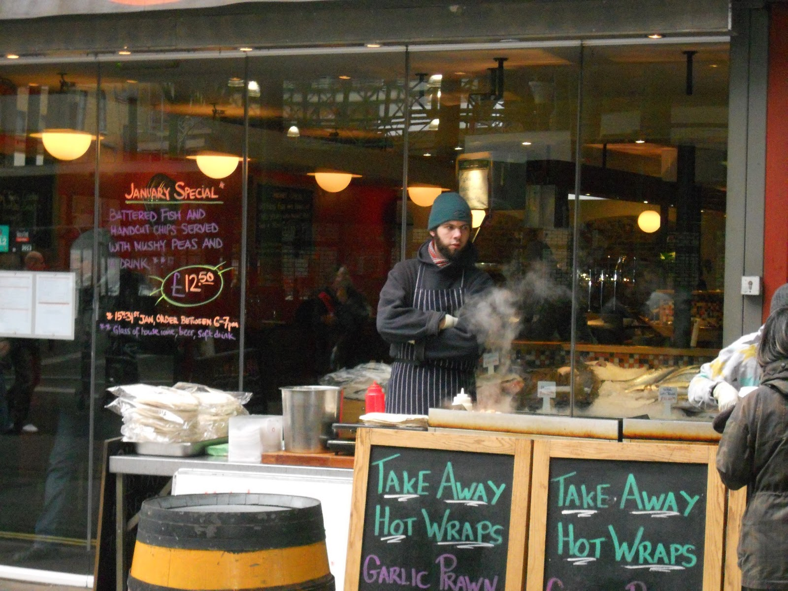 An unscheduled stop uk london borough market applebees for Applebee s fish and chips